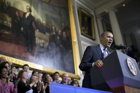President Obama spoke from the same room in Faneuil Hall where Mitt Romney signed the Massachusetts law in 2006.